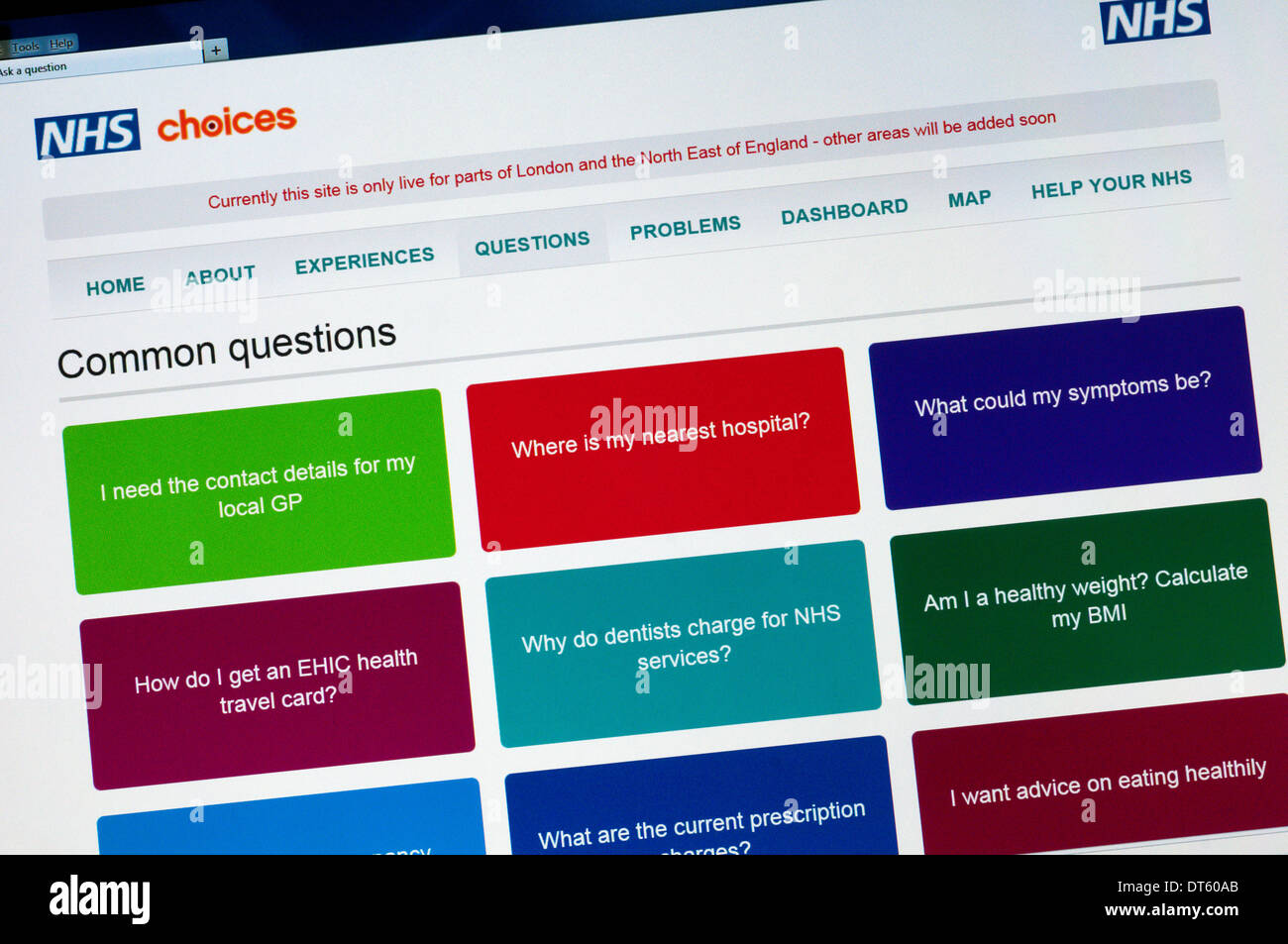 The NHS Choices website aims to provide a comprehensive health information service for the public. - Stock Image