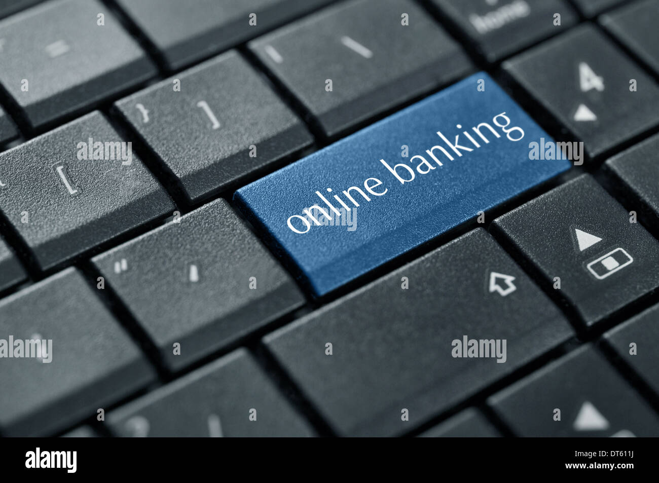 Concept of online banking. Word online banking on button of computer keyboard. - Stock Image