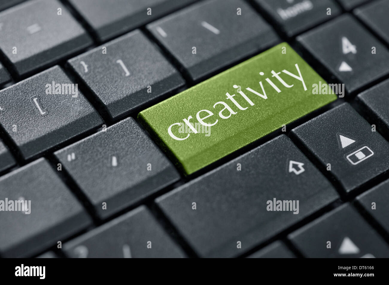 Word creativity on button of computer keyboard closeup. - Stock Image