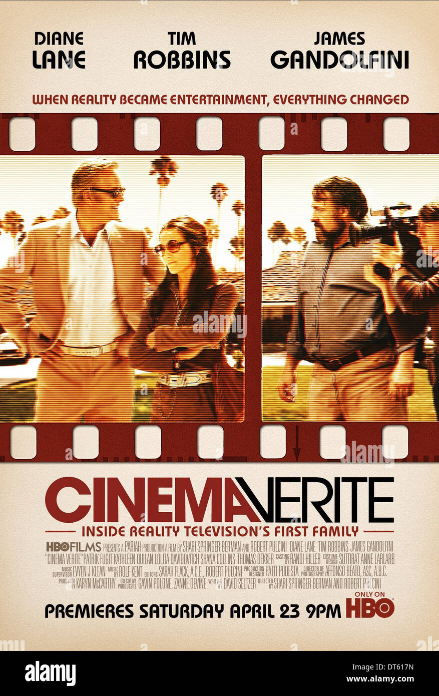 TIM ROBBINS DIANE LANE & JAMES GANDOLFINI POSTER CINEMA VERITE (2011) - Stock Image