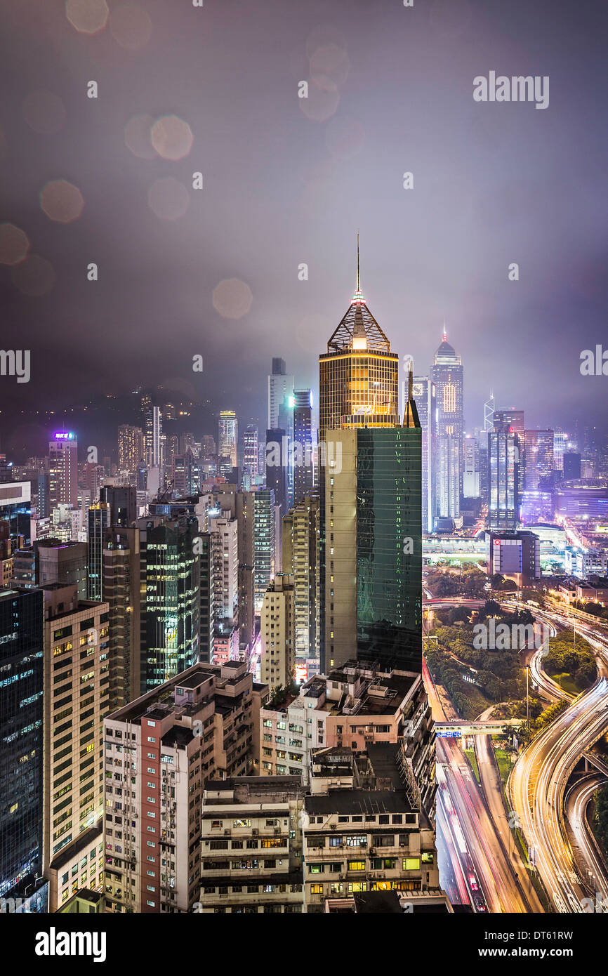 City and highways at night, Hong Kong, China - Stock Image