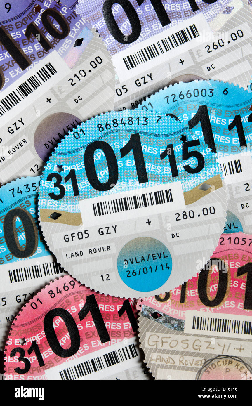 UK paper tax discs are due to be phased out and replaced by an electronic system from October 2014. - Stock Image