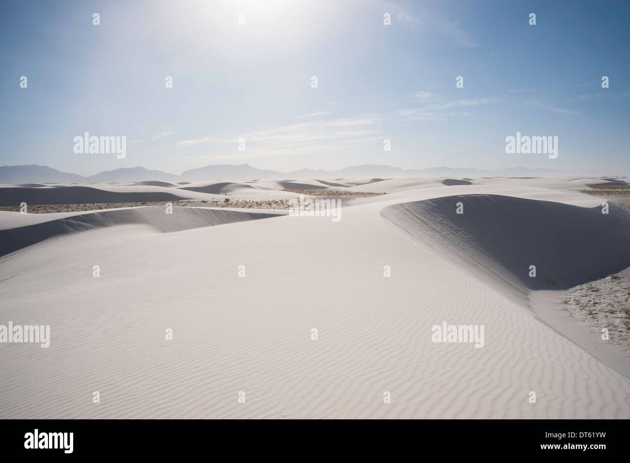 Rolling sand dunes, White sands, New Mexico, USA - Stock Image