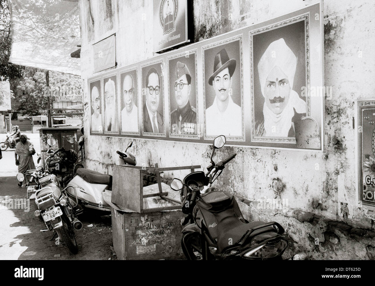 Indian historical heroes Chennai Madras in Tamil Nadu in East india in South Asia. History Historic Gandhi Portrait Portraiture Hero Reportage Travel - Stock Image