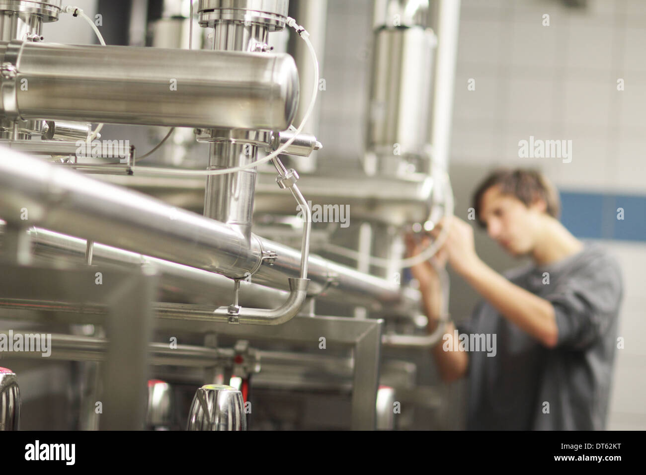 Man working in brewery Stock Photo