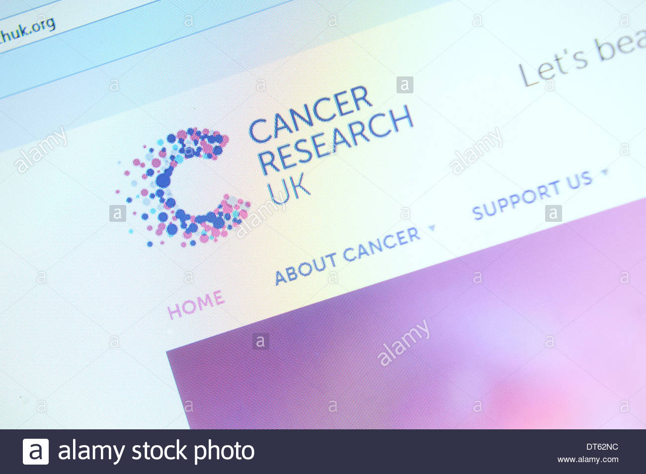 Cancer research Website - Stock Image