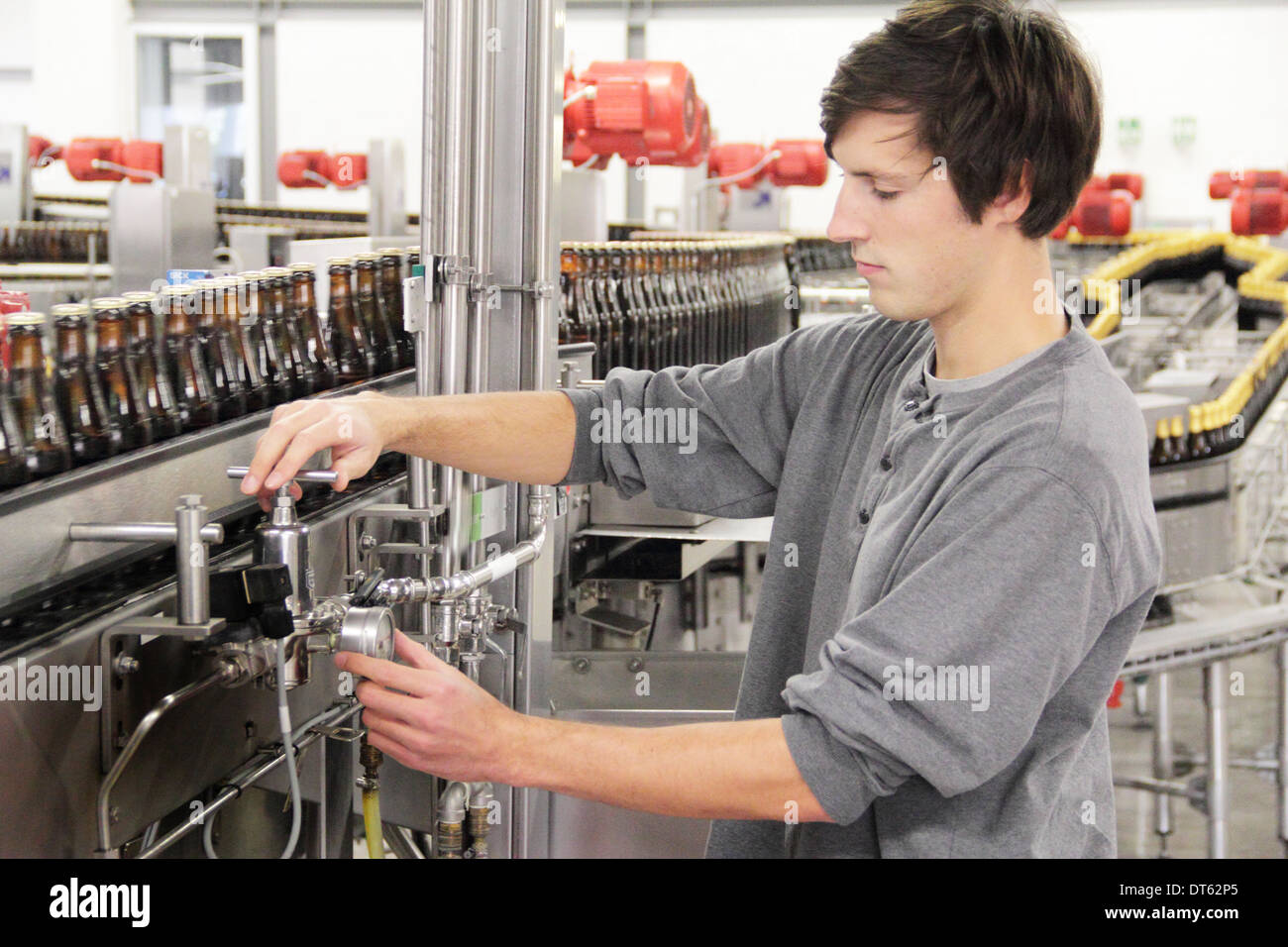 Man checking industrial equipment in brewery - Stock Image