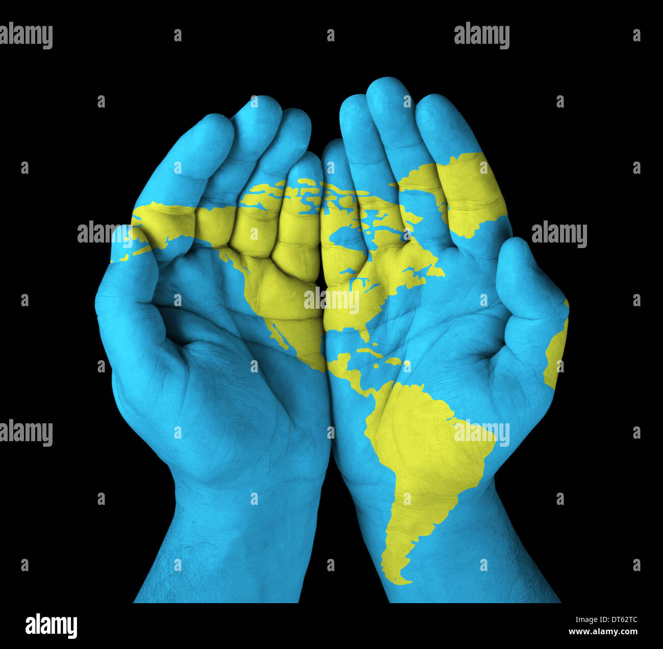 World map painted on hands stock photo 66516812 alamy world map painted on hands gumiabroncs Image collections