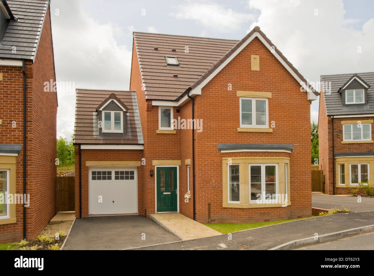 New build red brick detached house Stock Photo