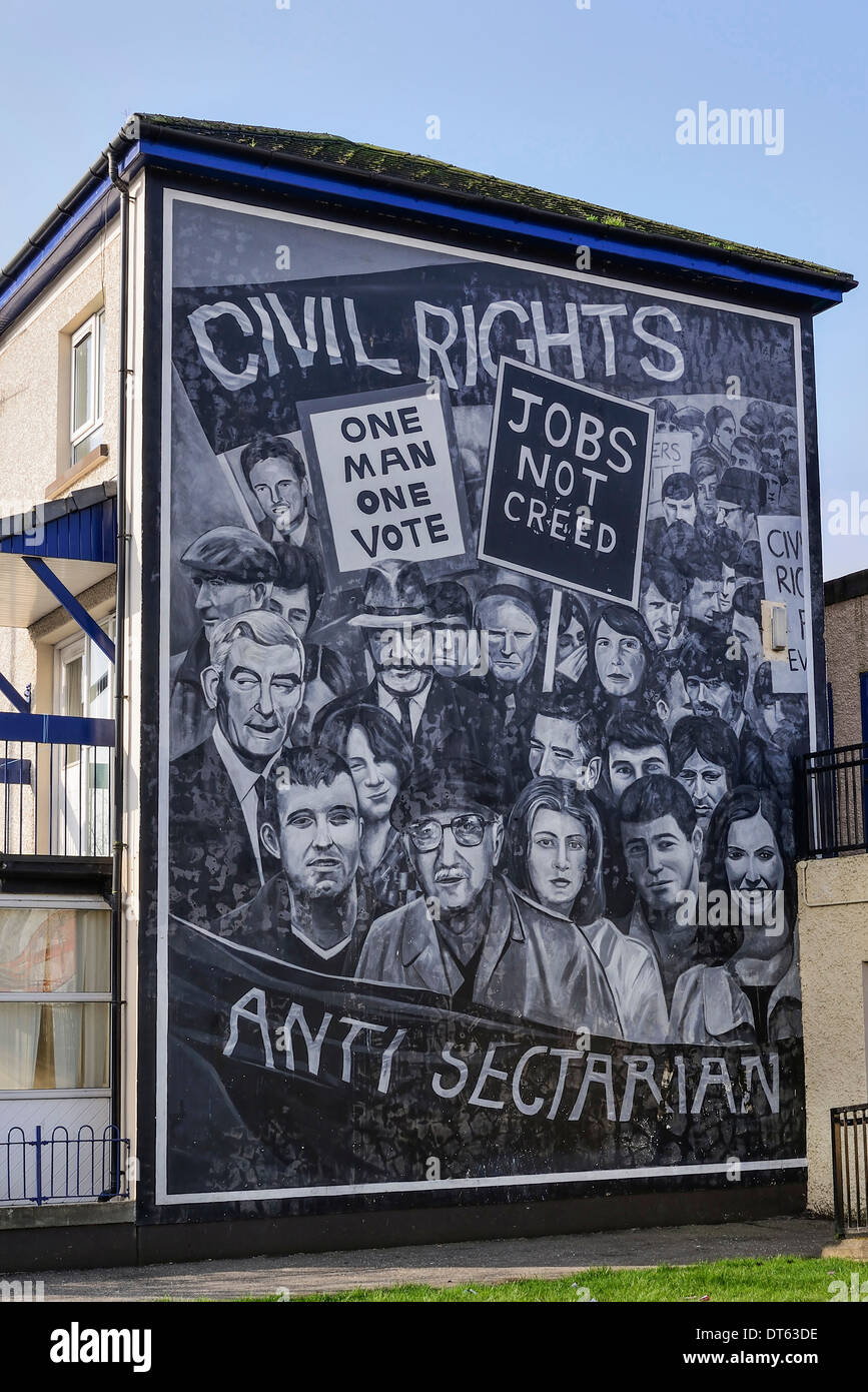 Ireland, Derry, The People's Gallery series of murals in the Bogside, Mural known as Civil Rights. - Stock Image