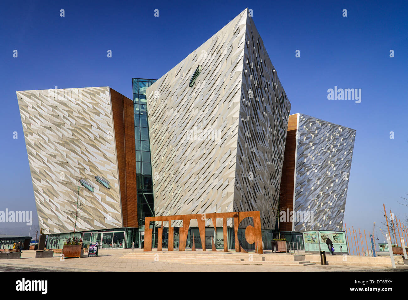 Ireland, Belfast, Titanic Quarter, Titanic Belfast Visitor Experience, General view of building with Titanic sign Stock Photo