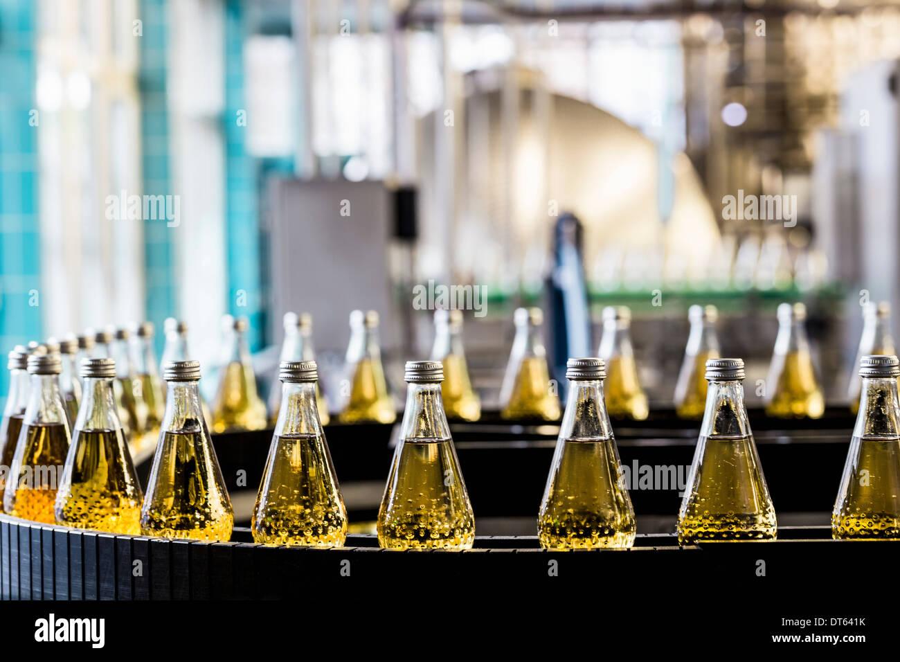 Bottles on conveyor belt in bottling plant - Stock Image