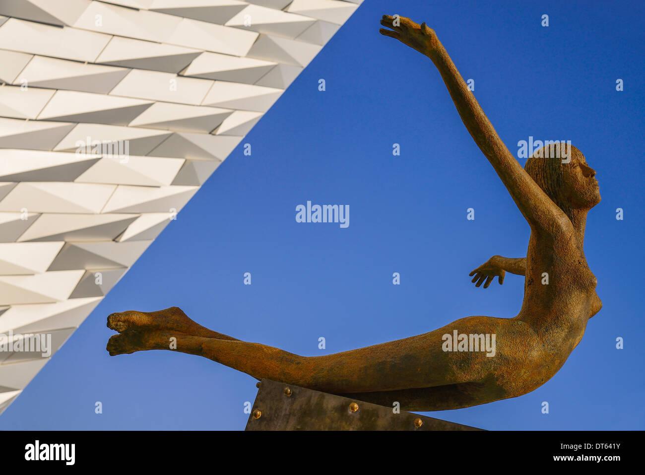 Ireland, Belfast, Titanic Quarter, Titanic Belfast Visitor Experience, Titanica sculpture by Rowan Gillespie against Stock Photo