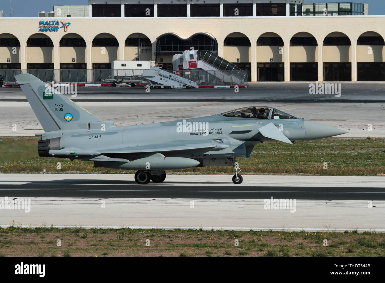 Eurofighter Typhoon jet fighter of the Royal Saudi Air Force taxiing for departure from Malta - Stock Image