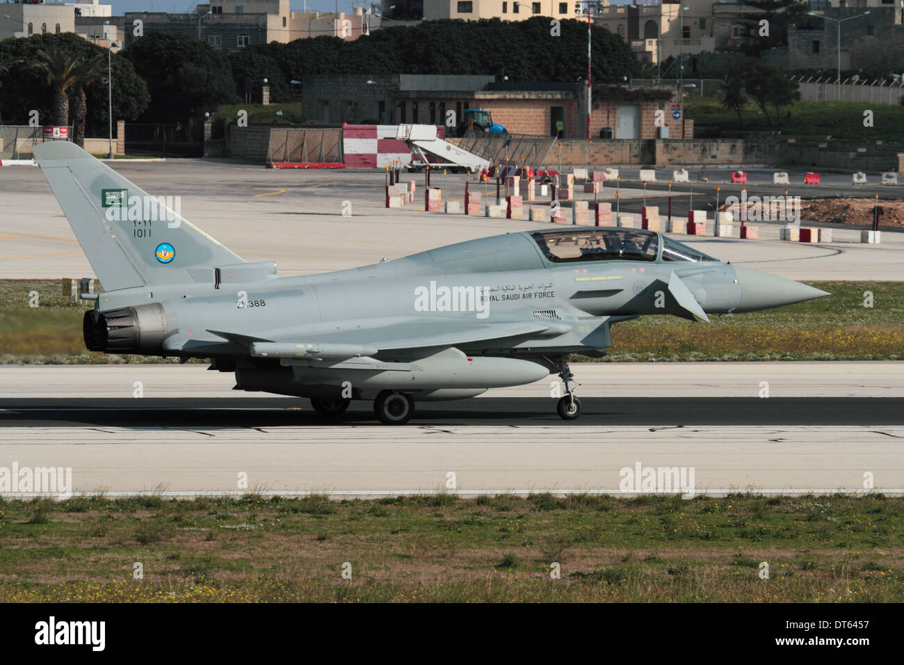 Eurofighter Typhoon fighter plane of the Royal Saudi Air Force taxiing for departure from Malta - Stock Image