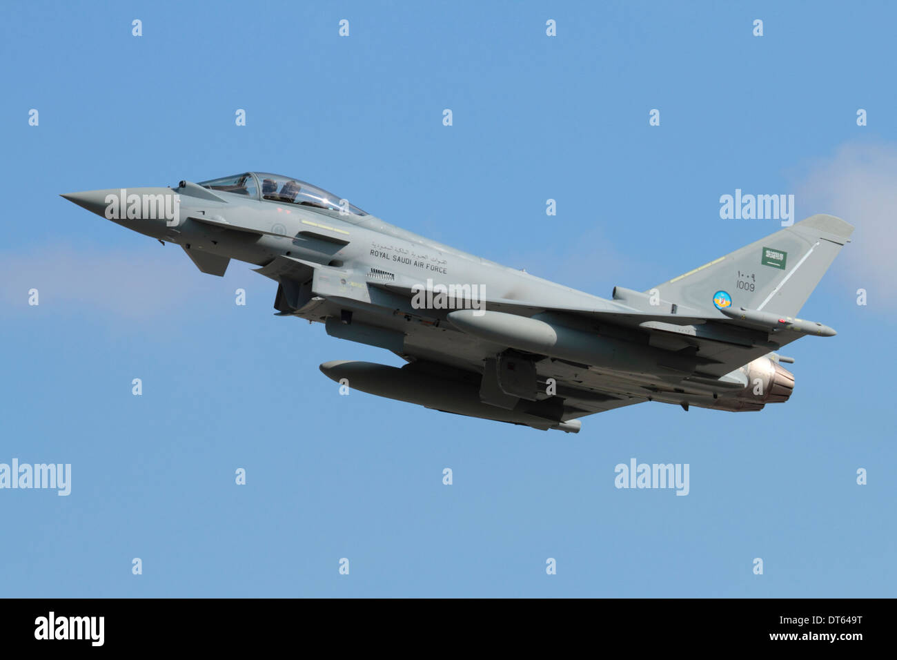 Military aviation. Eurofighter Typhoon jet fighter plane of the Royal Saudi Air Force flying and climbing on takeoff - Stock Image