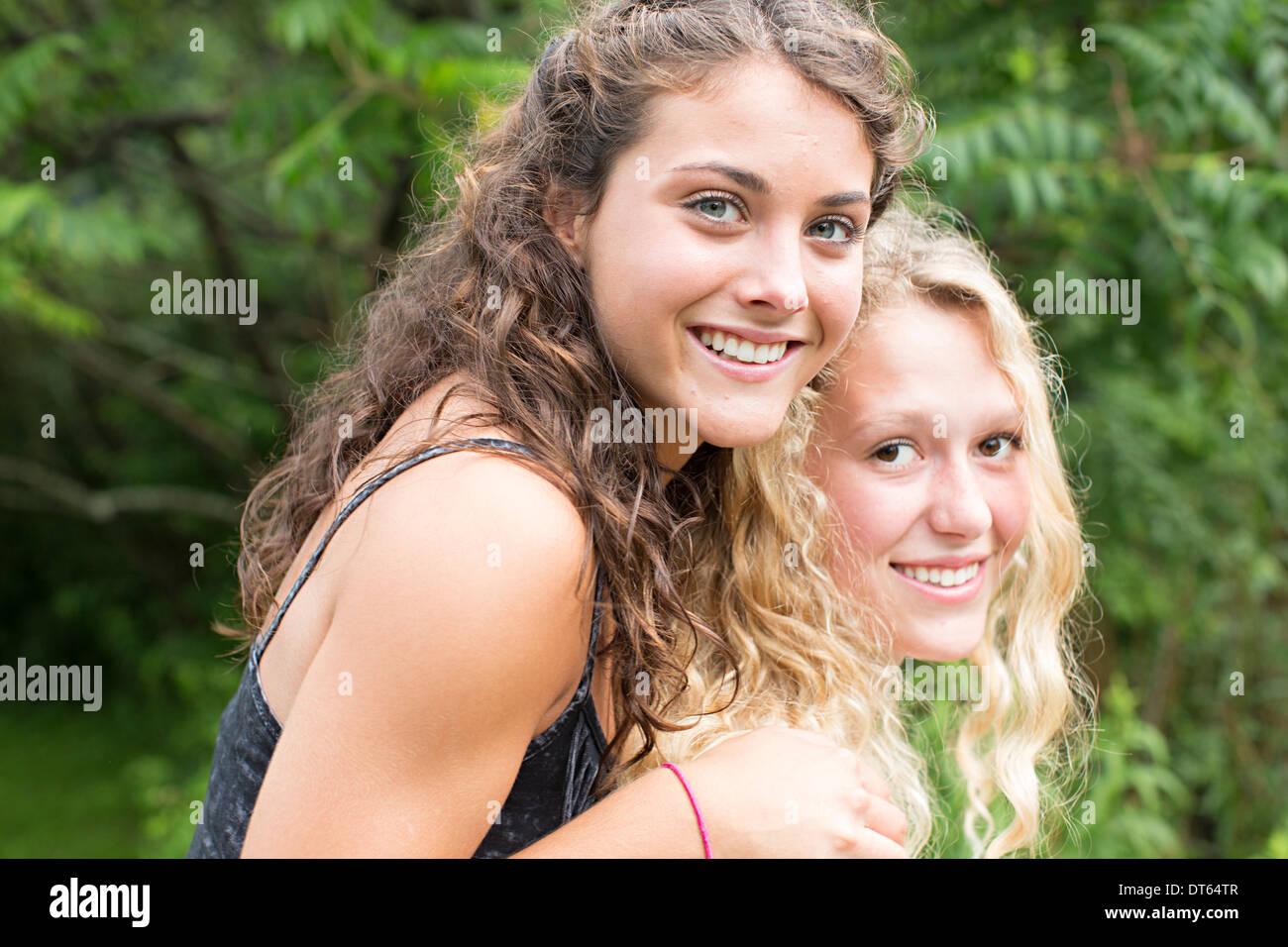 Portrait of teenage girls - Stock Image