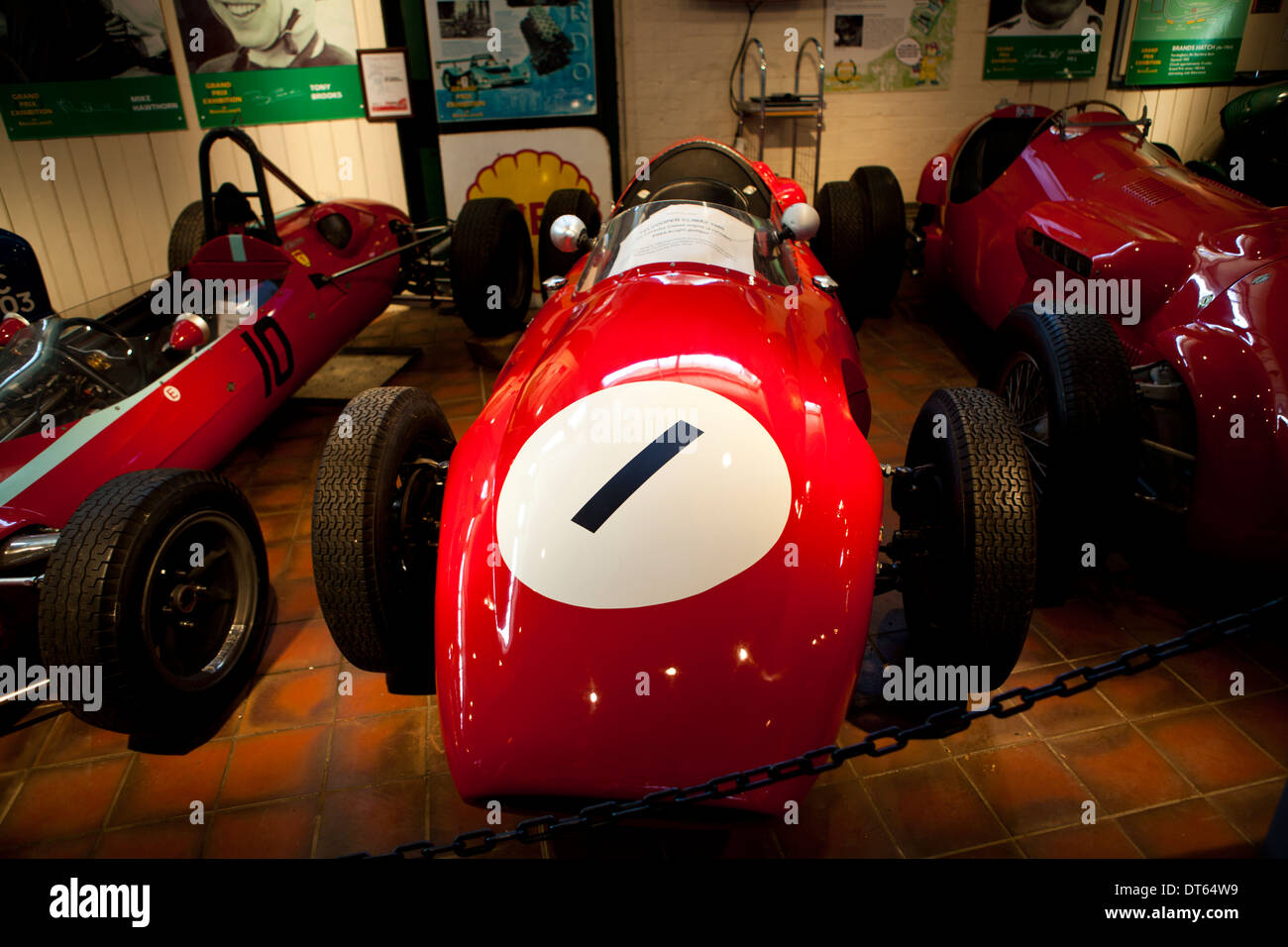 Old fashioned racing cars on display at Brooklands Museum in Stock ...
