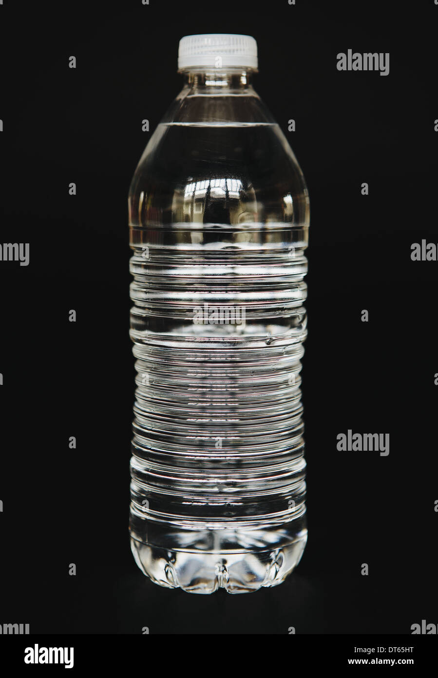Filtered water in clear, plastic bottle, close up - Stock Image