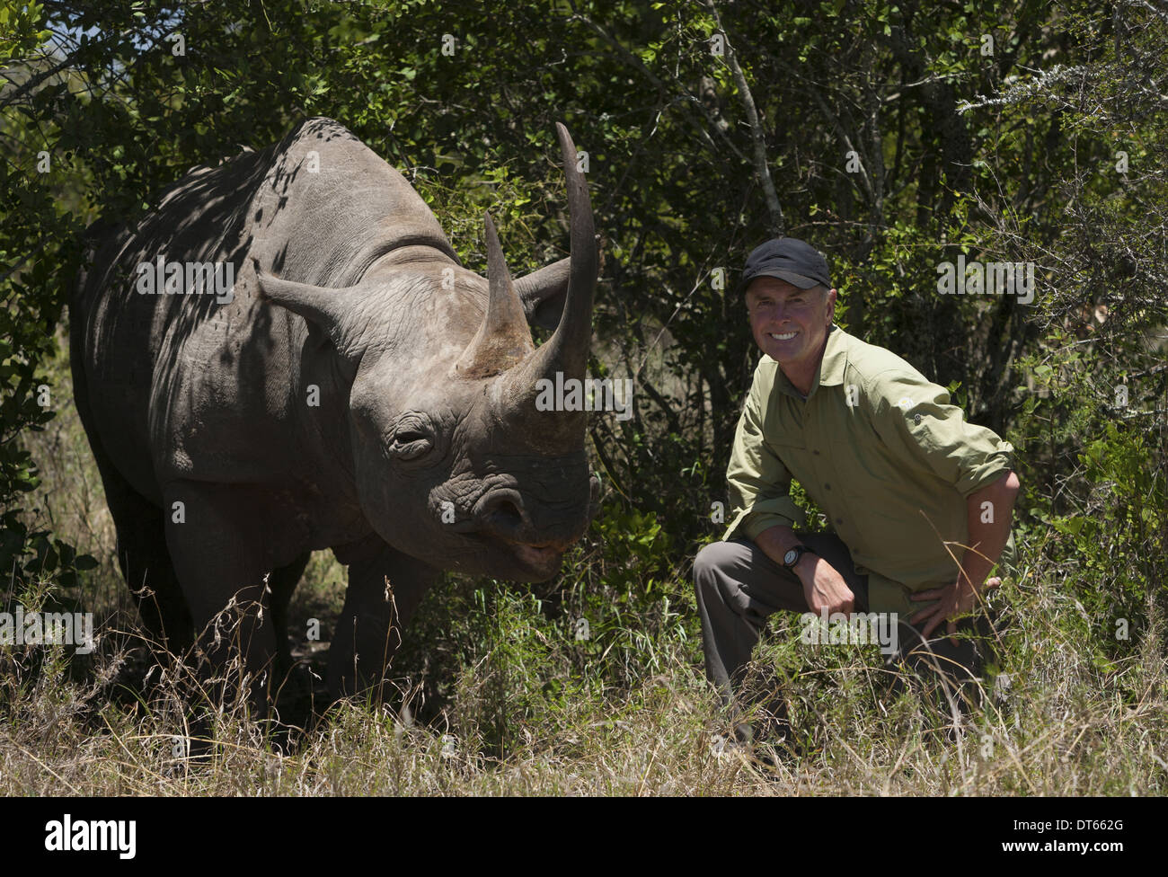 Art Wolfe, photographer kneeling next to a white rhinoceros in Kenya. - Stock Image