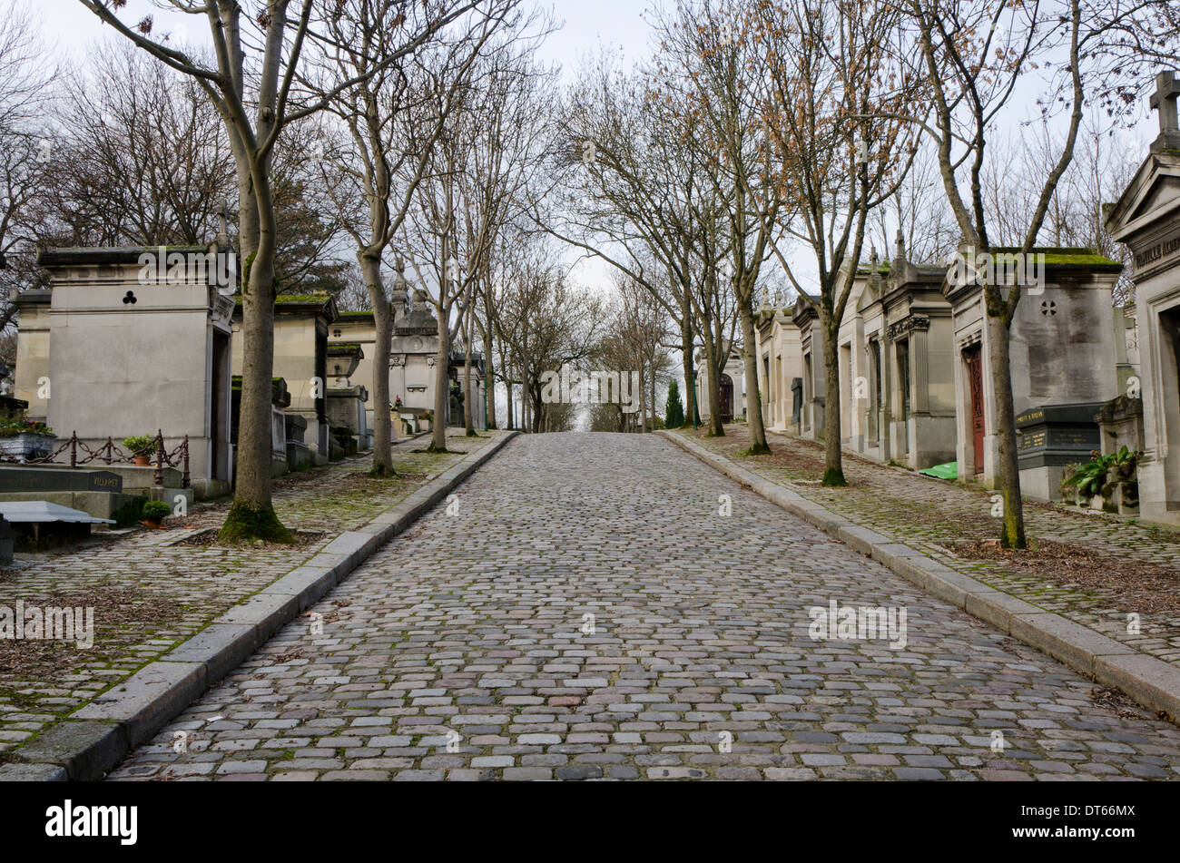 View of the Pere Lachaise, the largest Cemetery in Paris, France. Stock Photo
