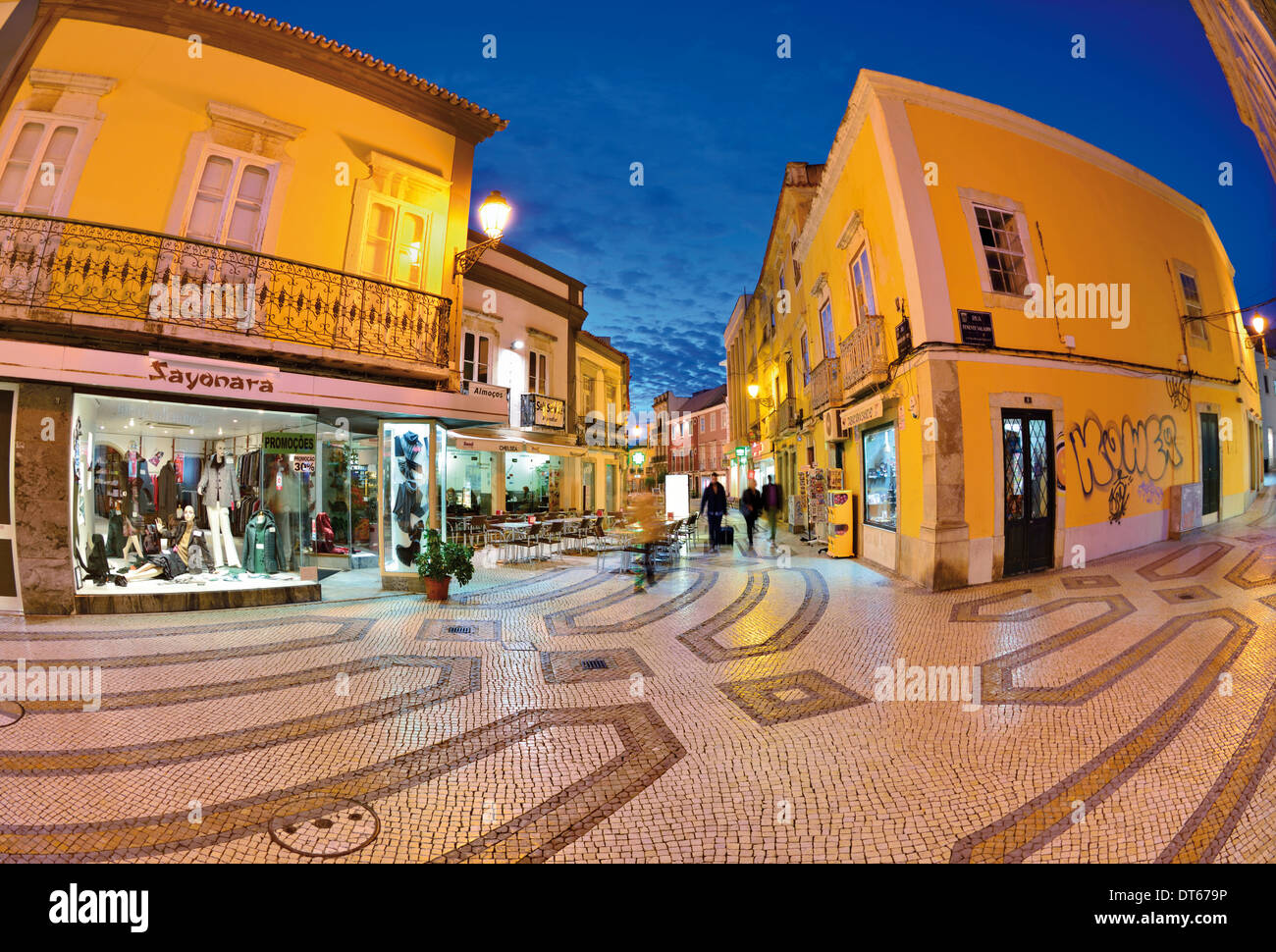 Portugal, Algarve: Nocturnal illumination of the historic center of Faro - Stock Image