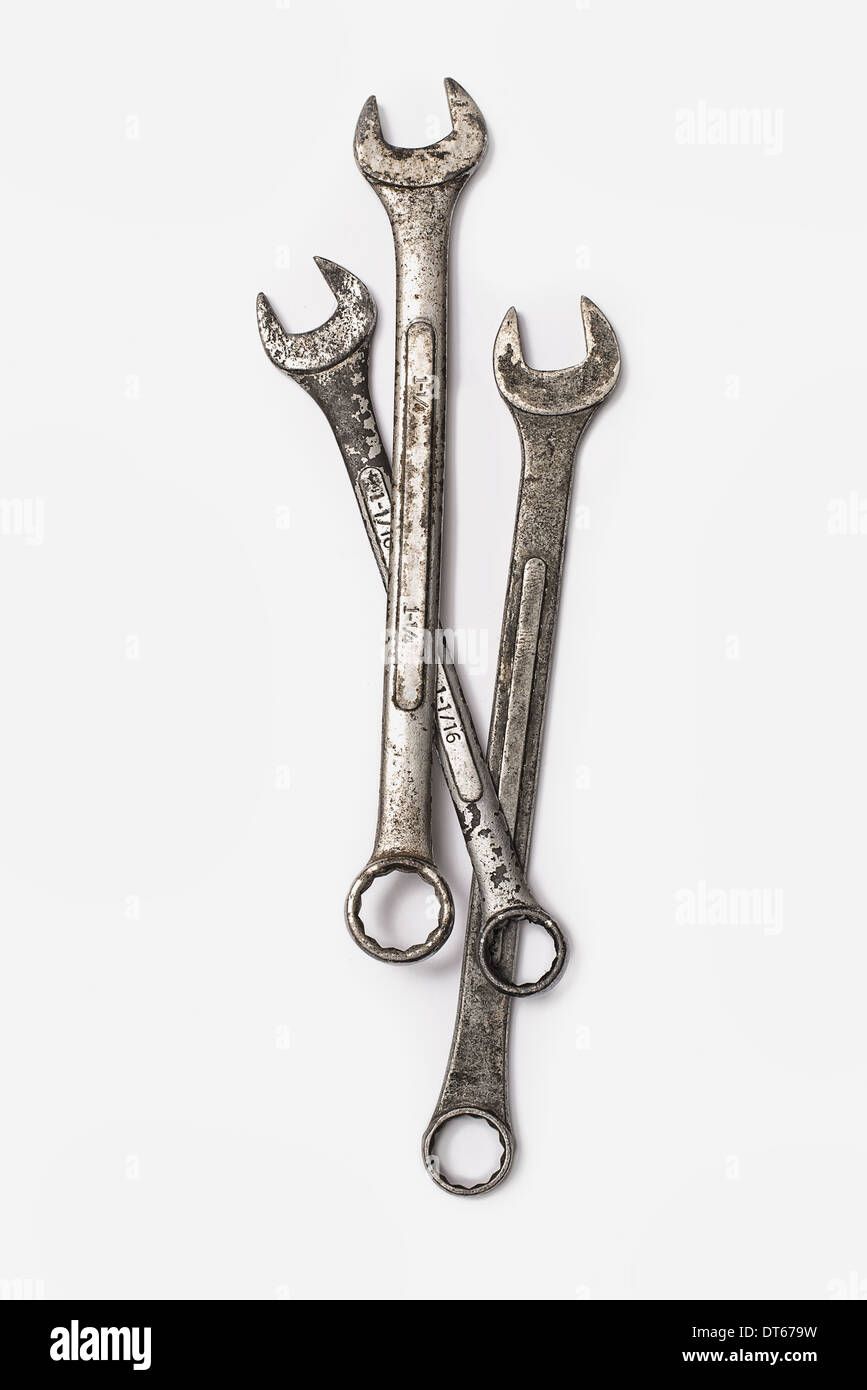 Used Tools. Three spanners. - Stock Image
