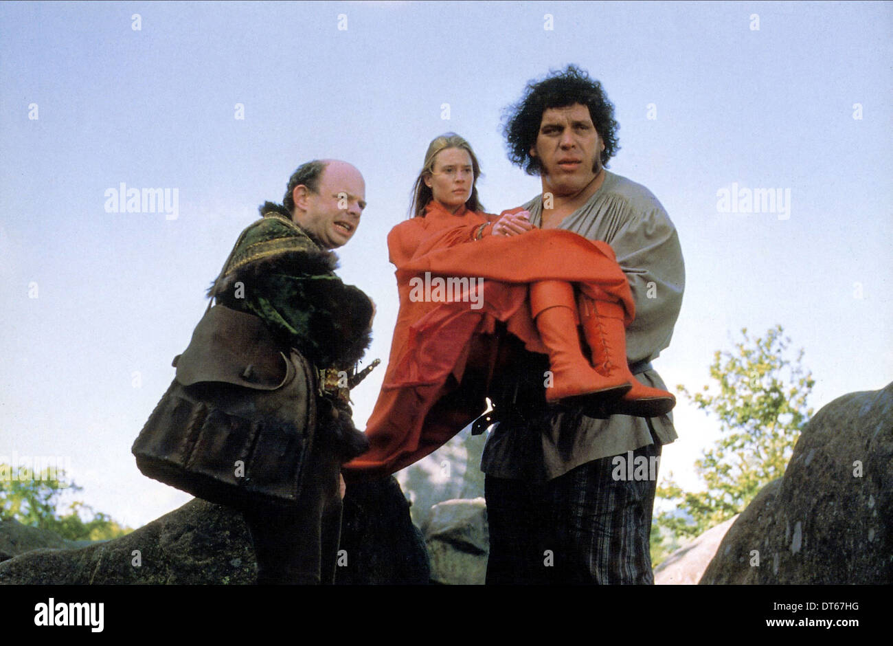 WALLACE SHAWN, ROBIN WRIGHT PENN, ANDRE THE GIANT, THE PRINCESS BRIDE, 1987 Stock Photo