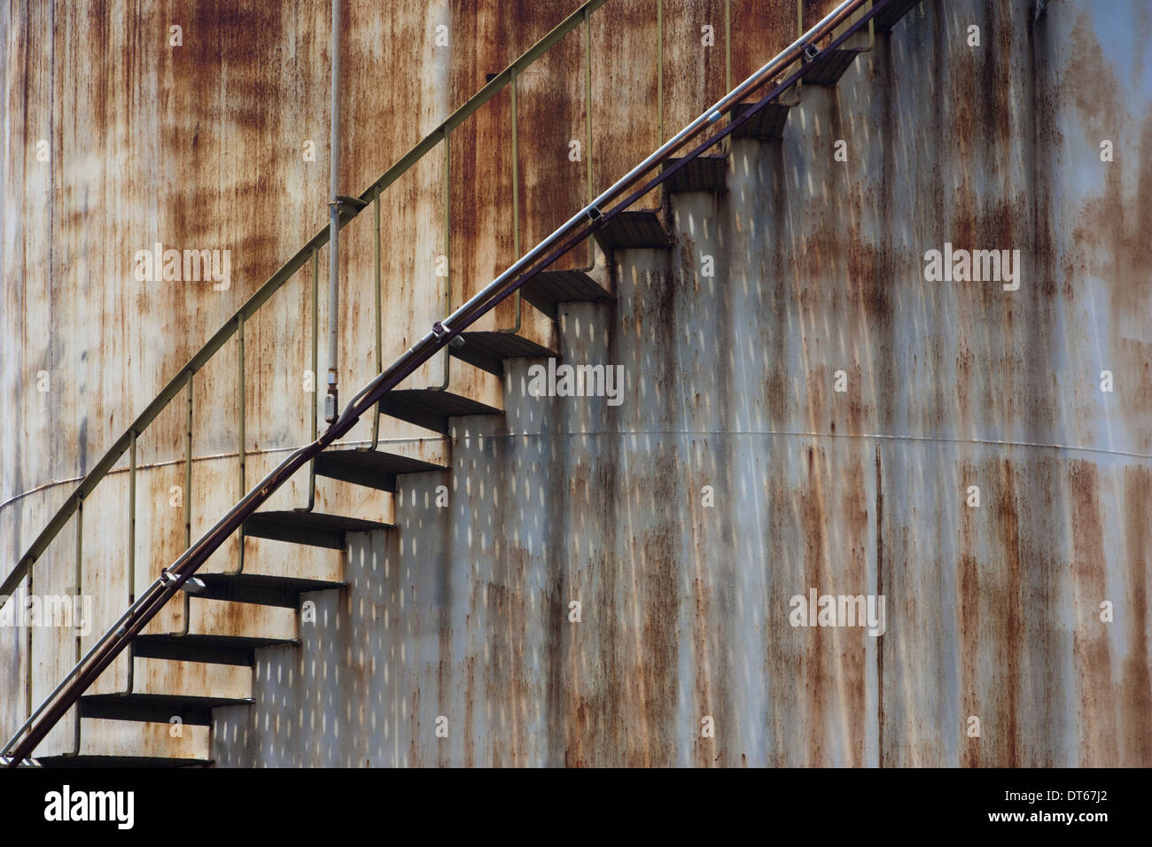 Staircase on a rusting iron structure, Puerto Rico - Stock Image