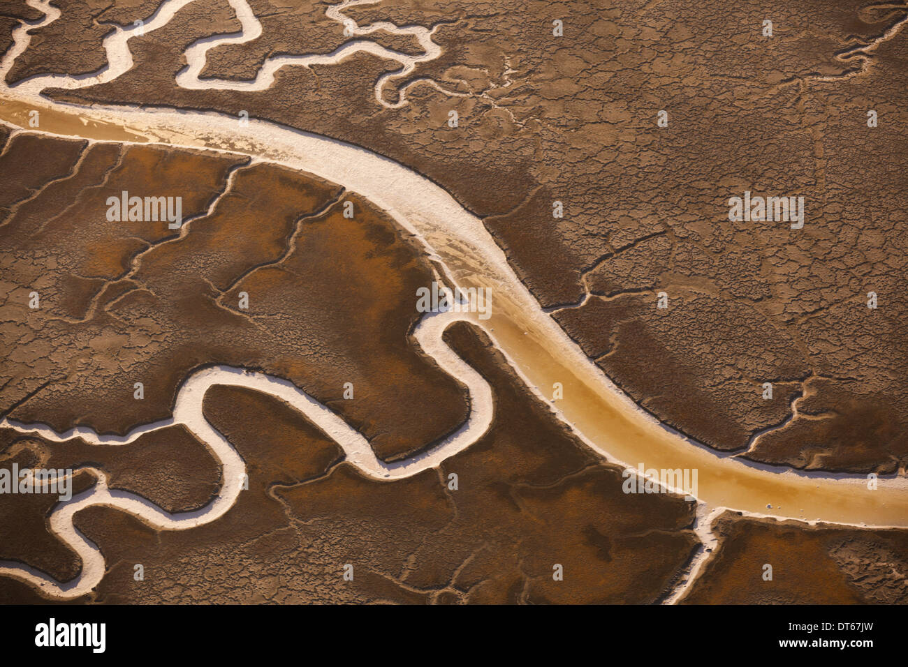 San Francisco Bay salt flats with glistening water channels in California, USA - Stock Image