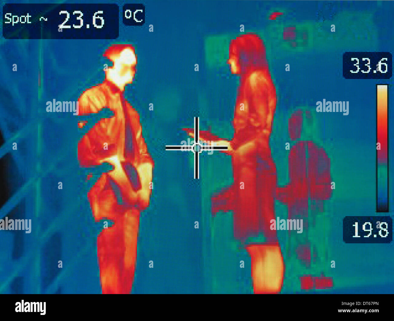 Infrared heat image of office workers in meeting - Stock Image