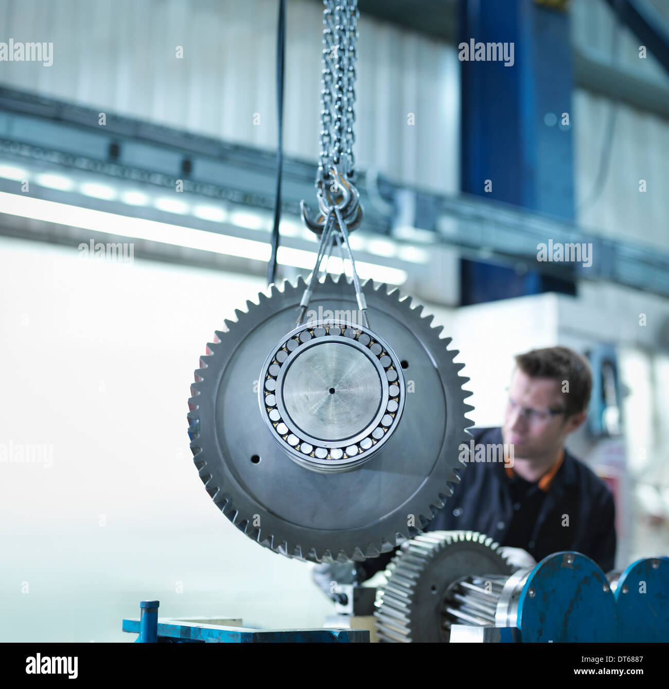 Gear for industrial gearbox in engineering factory - Stock Image