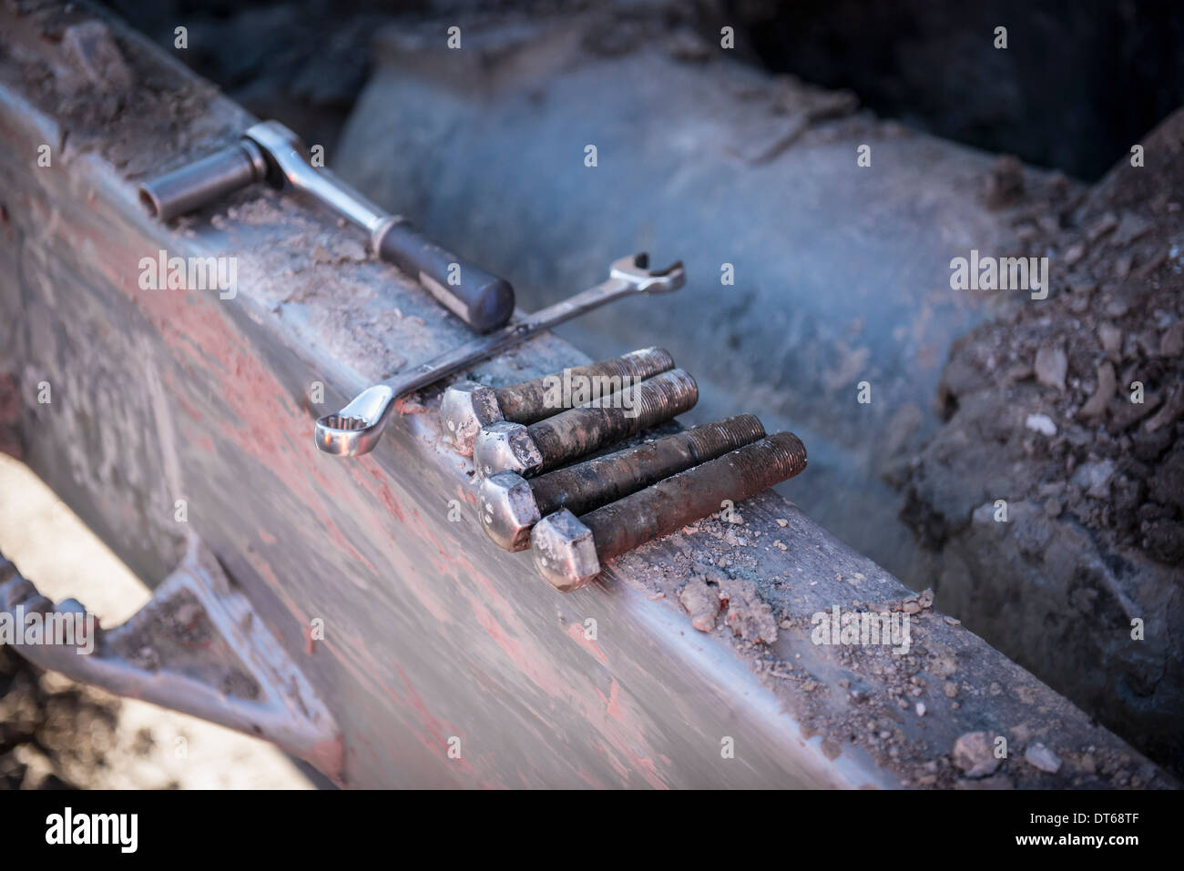 Repairs being made to bulldozer tracks at surface coal mine - Stock Image