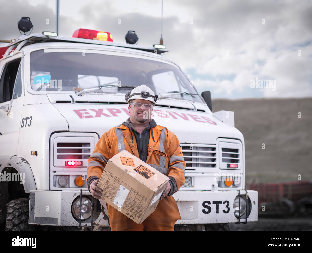 Portrait of explosives expert in surface coal mine - Stock Image