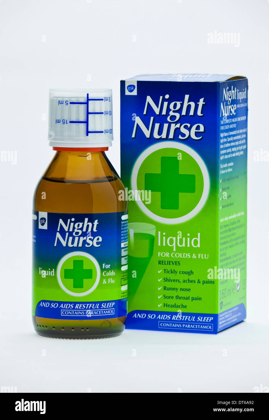 Night Nurse Cold and Flu Remedy on white background - Stock Image