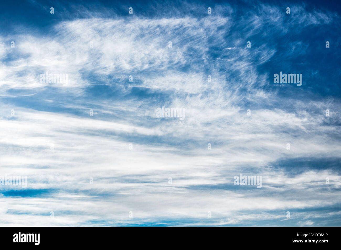 blue sky background, fluffy clouds - Stock Image