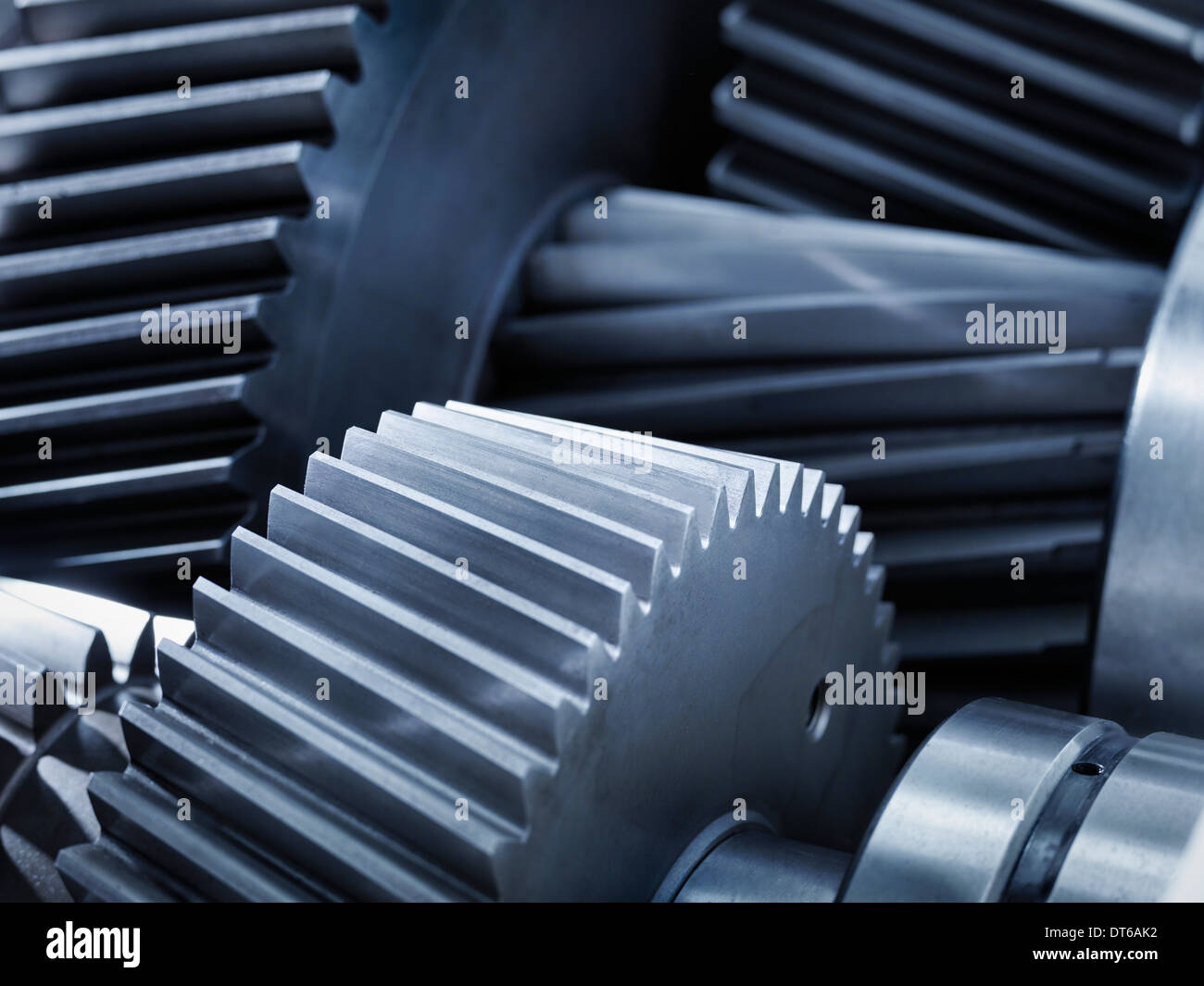 Close up of gears in industrial gearbox - Stock Image