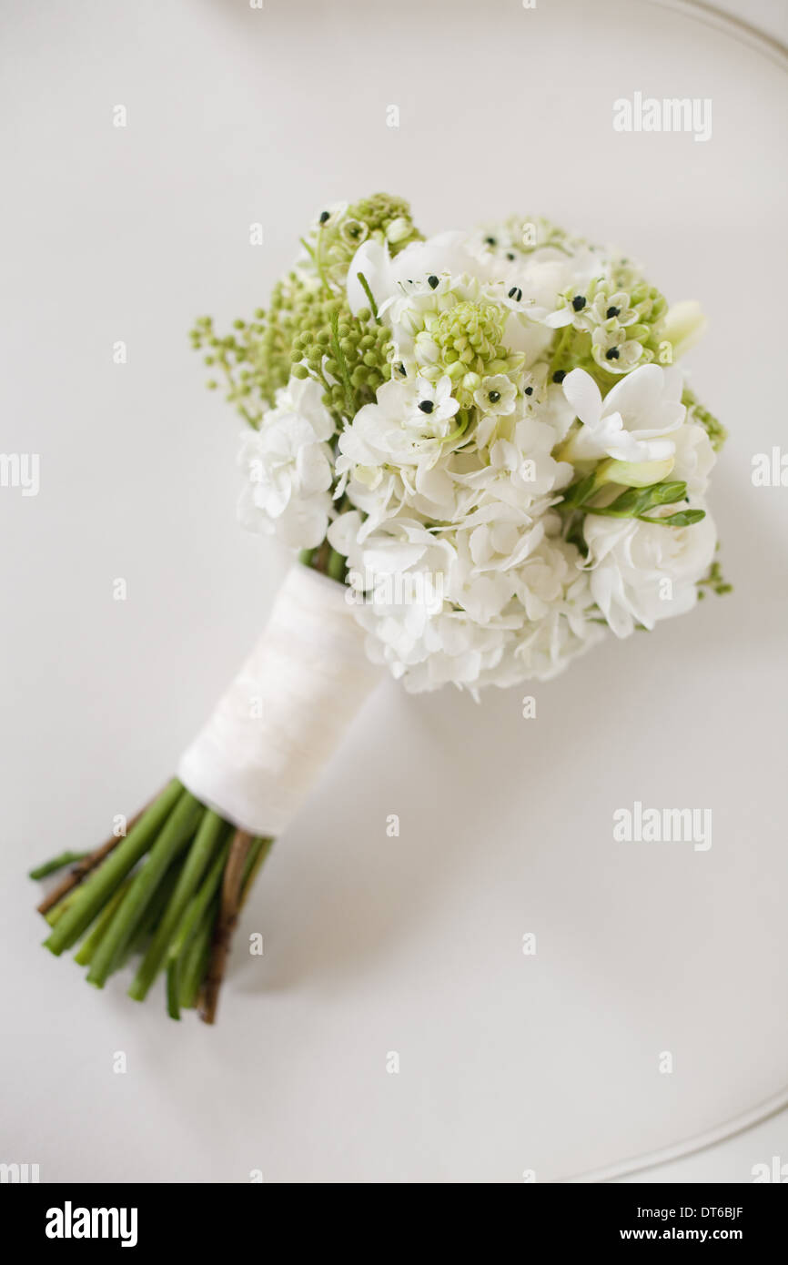 A wedding bouquet. White cut flowers, green seed heads, and foliage. Green stems and white ribbon. - Stock Image