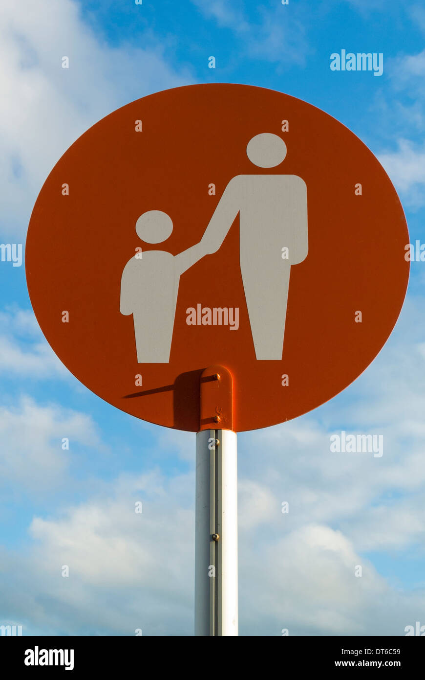 Child friendly parking sign at supermarket - Stock Image