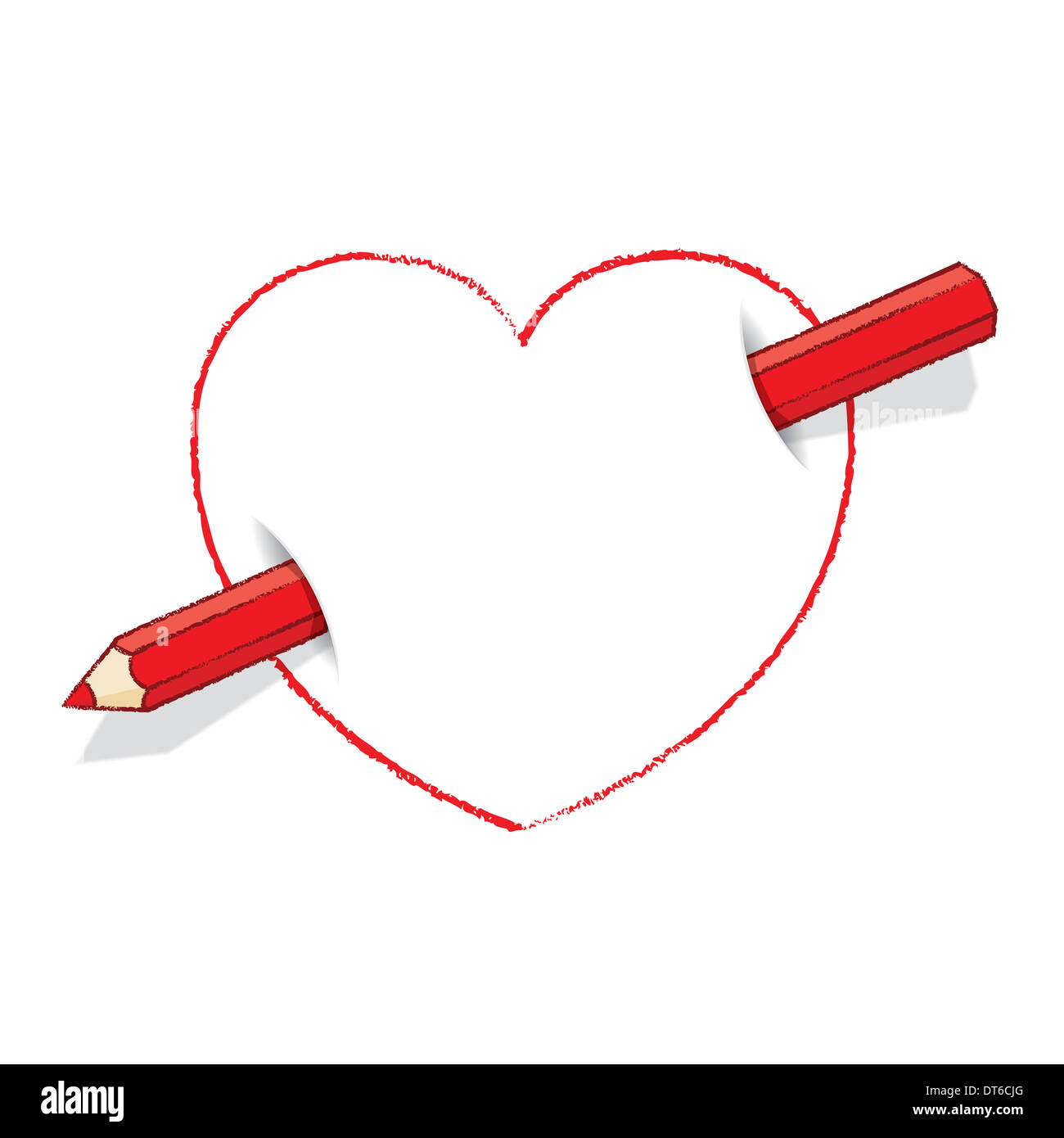 Diagonal red pencil piercing empty drawn love heart like an arrow diagonal red pencil piercing empty drawn love heart like an arrow ccuart Choice Image