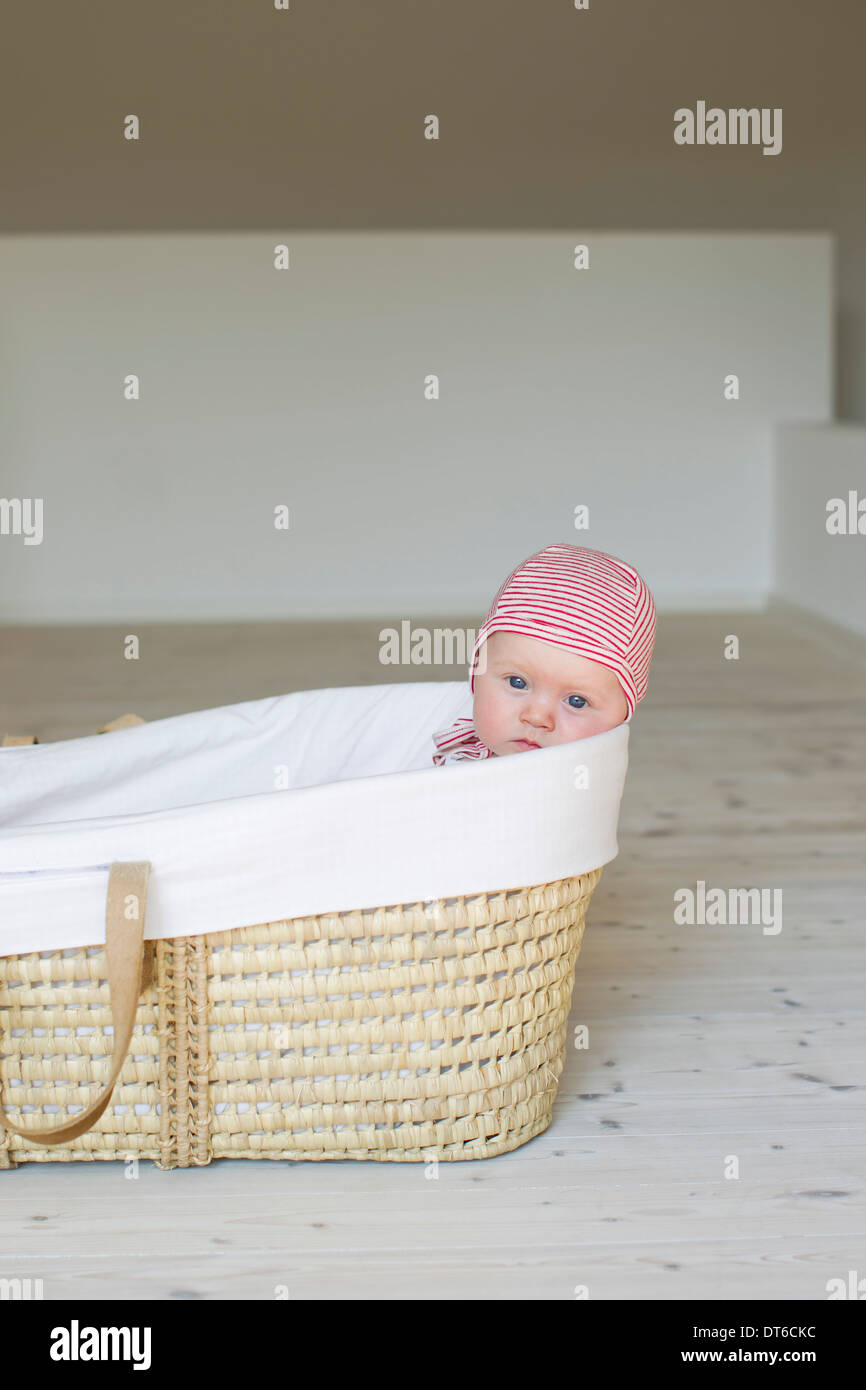 Portrait of baby girl in moses basket - Stock Image