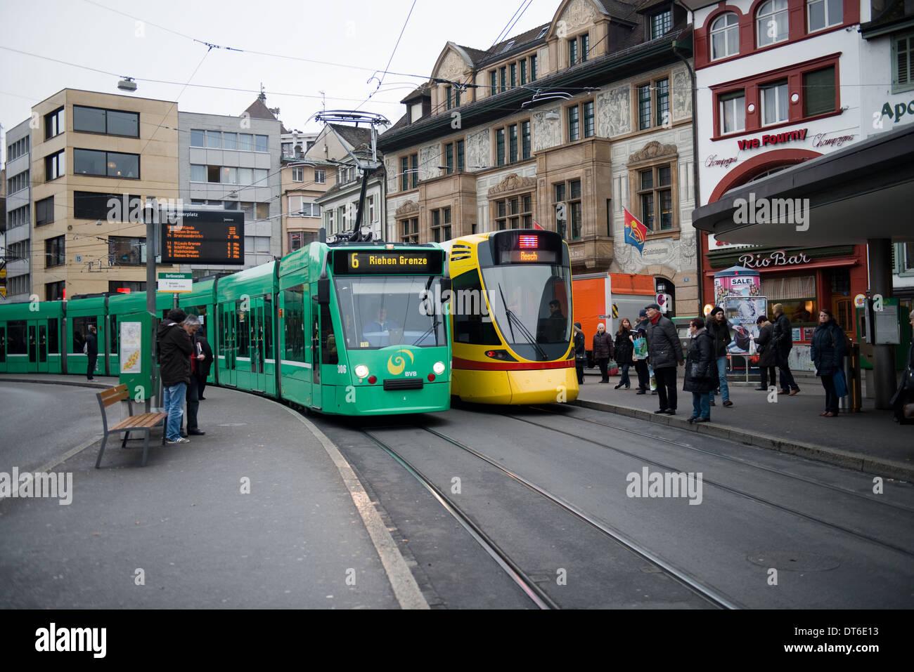BVB & BLT Trams at Barfusserplatz, Basel, Switzerland -1 - Stock Image