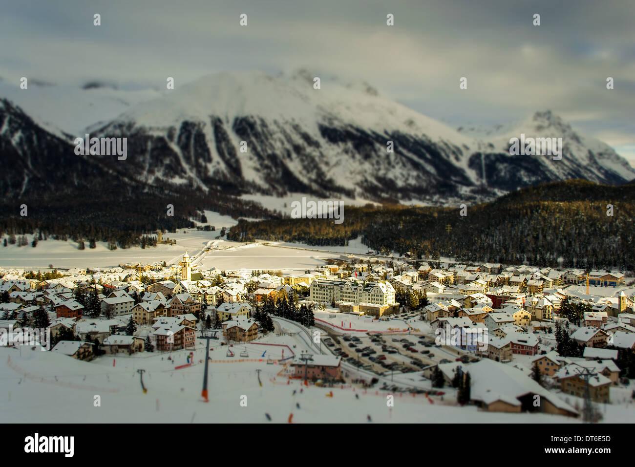 Village center of Celerina (Switzerland), tilt-shift effect - Stock Image