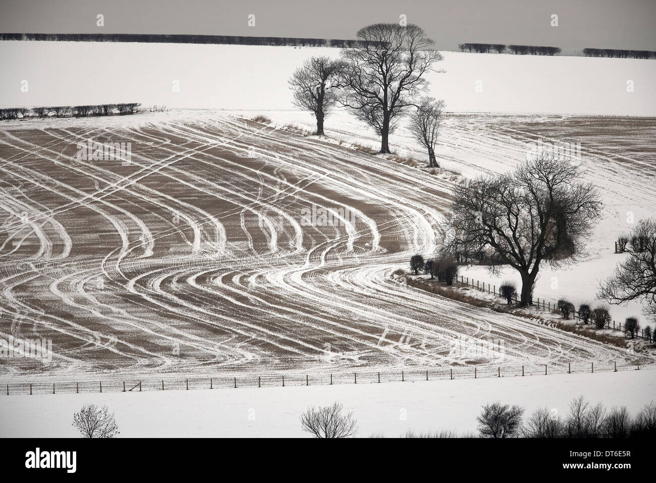 Snow covered farming landscape of the East Yorkshire Wolds near Wharram Percy - Stock Image