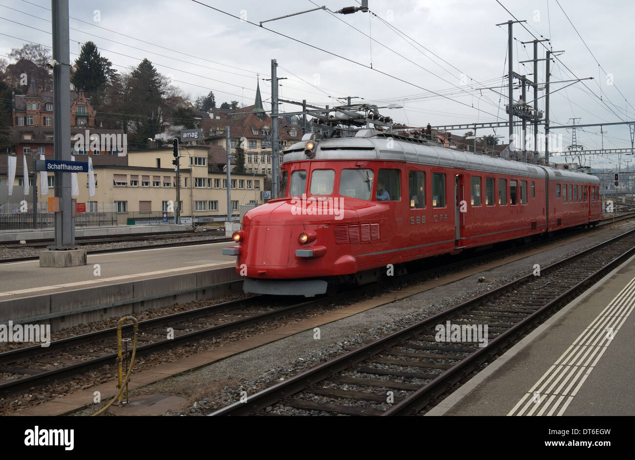 Churchill Red Arrow Multiple Unit at Schaffhausen, Switzerland -1 - Stock Image