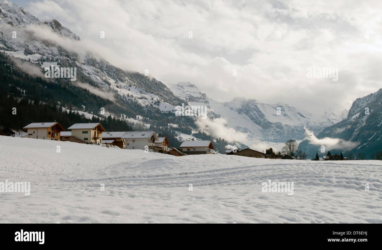 Snow scene at Fritigen, Switzerland - Stock Image
