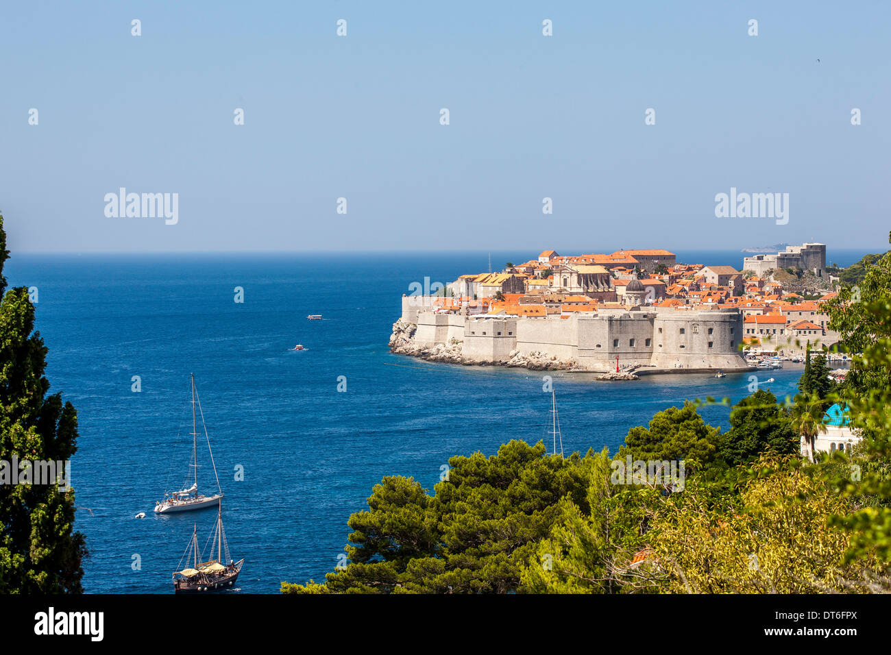 View of the mountain to the old town and Adriatic Sea - Stock Image