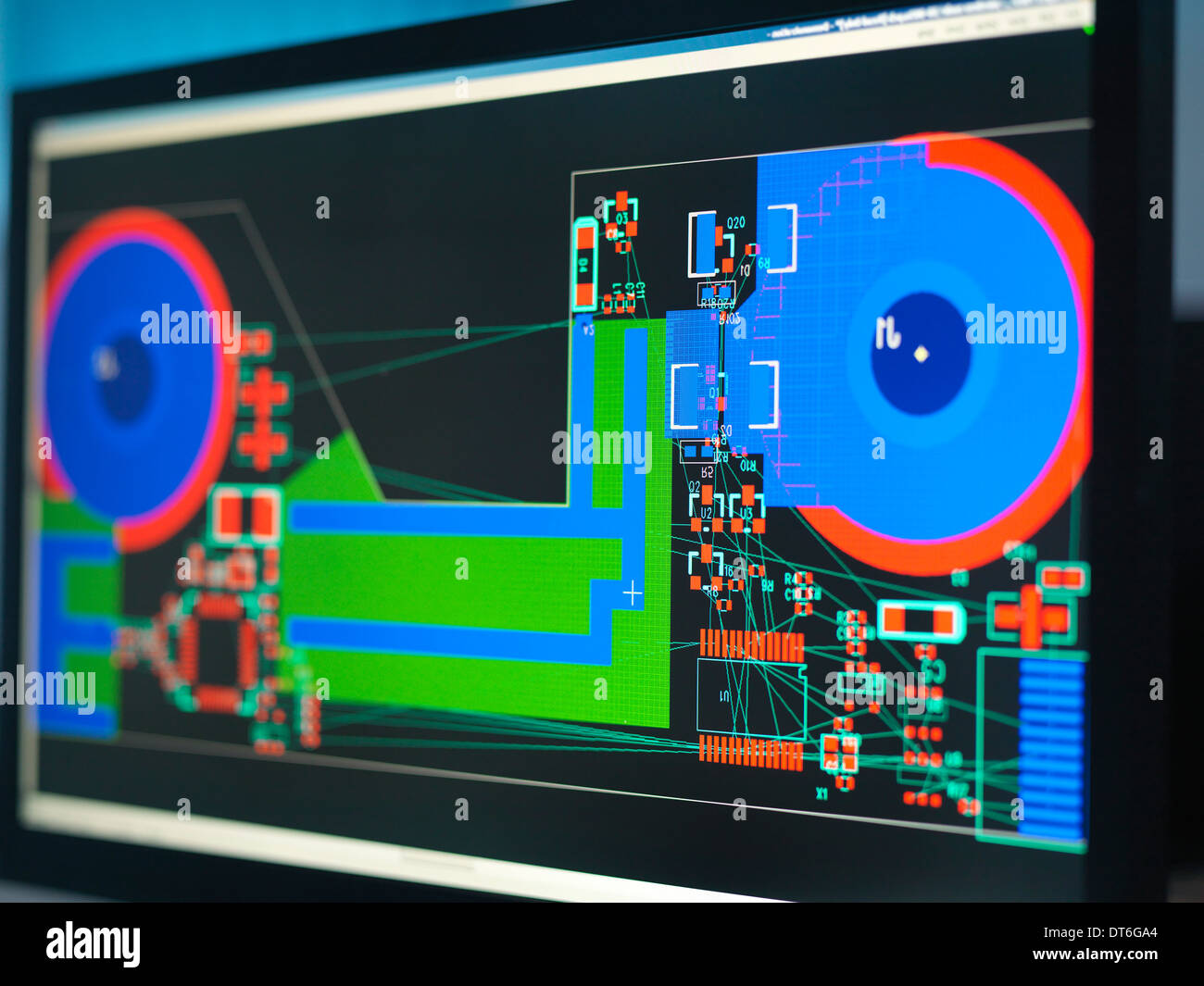 Computer screens with electronic circuitry designs for automotive use - Stock Image