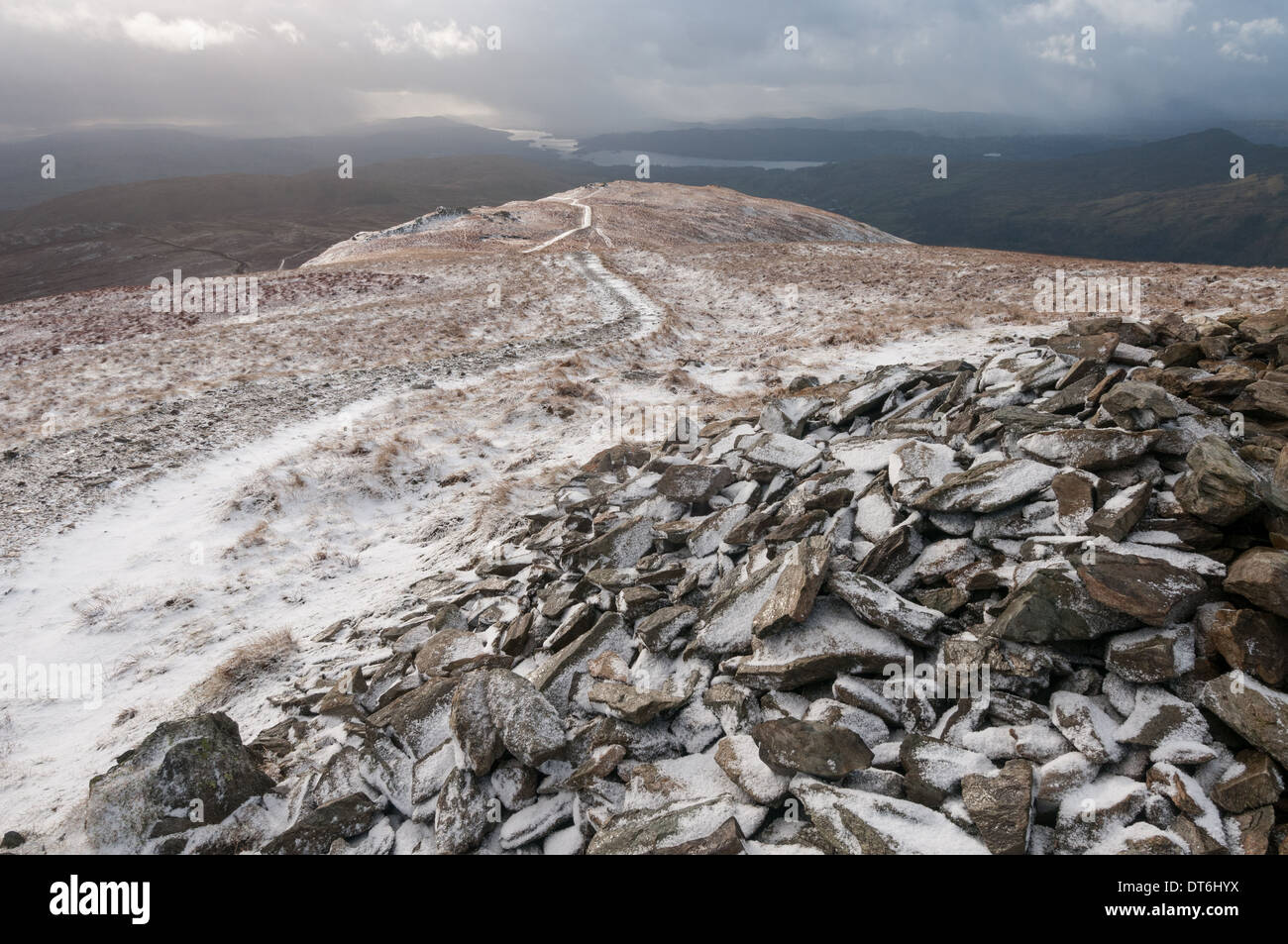 View from the summit of Yoke towards Windermere, English Lake District National Park - Stock Image
