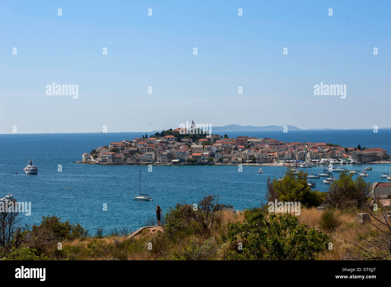 View of island near Dubrovnic Stock Photo